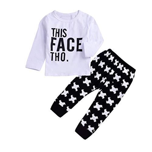 Rosennie 2 STÜCKE Kleinkind Kinder Baby Jungen Mädchen Buchstaben Gedruckt Top Overall + Lange Hosen Set Outfit Bodysuit Mode Langam T-Shirt + Pants Baby Bekleidungsset Herbst(Weiß B)