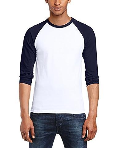 Fruit of the Loom Men's Baseball Raglan Long Sleeve T-Shirt, White/Navy, Large