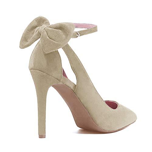 Tomwell Sandalias Mujer Arco Tacón Alto Zapatos Apuntado Zapatos Boda Fiesta Zapatos Beige 39 EU