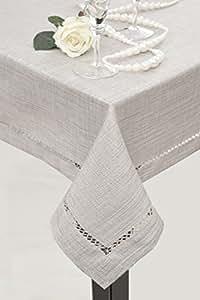 140x180 silber Tischdecke Tischtuch Leinoptik ornamente Form pflegeleicht praktisch elegant Emily