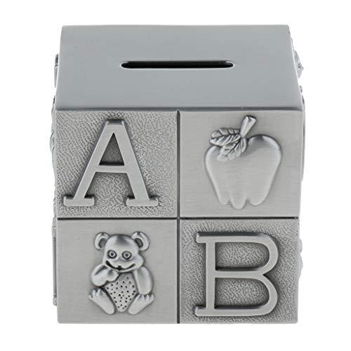 FLAMEER Sparschwein in Würfel-Form für Münzen, Geldspar-Spardose für Kinder, aus Metall