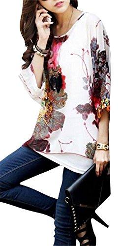 JLTPH Donne Tunica Shirt spiaggia delle del Batwing chiffon camicetta Hippie Shirt Top color27