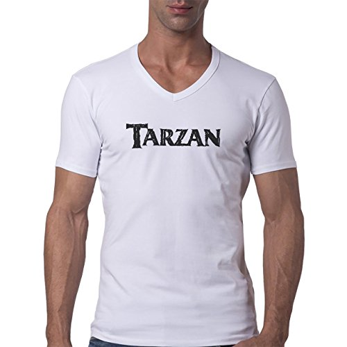 Vector Of The World Tarzan Logo Herren V-Neck T-Shirt Weiß