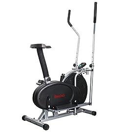 Bici Cyclette ellittica Stepper Cross Trainer con Schermo LCD e Software di monitoraggio Allenamento. Attrezzo bruciagrassi Cordless con Resistenza Regolabile su più Livelli.