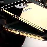 Handy schützen, Spiegel zurück mit Metallrahmen Telefonkasten Plattierung für Samsung-Galaxie s7 Edge / s7 / s6 Rand / s6 / s5 / s4 für Samsung (Farbe : Gold, Kompatible Modellen : Galaxy S4)