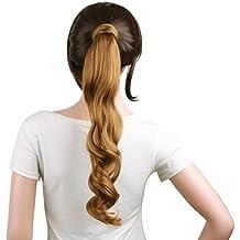 MapofBeauty 20/50 cm largo rizado peluca de pelo de Artificial coleta (Rubio ·