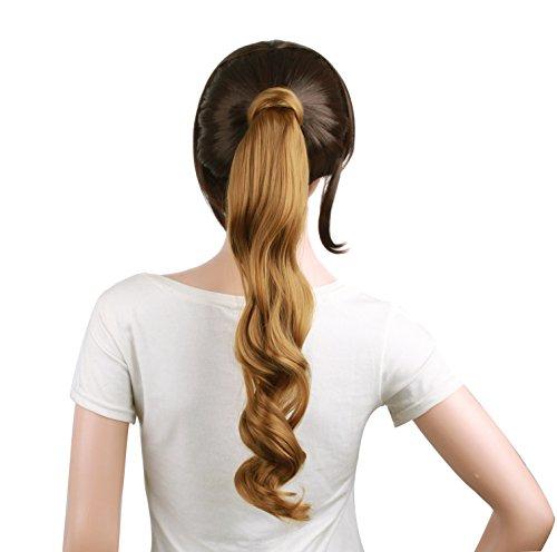MapofBeauty 50,8 cm/50 cm de long Cheveux bouclés perruque pièce Faux Queue de cheval (Blond foncé)