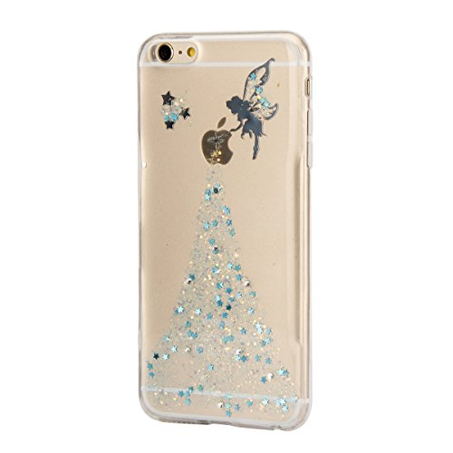 Etsue TPU Schutzhülle für iPhone 6s Plus/iPhone 6 Plus IMD Technologie Marmor Design Silikon Handyhülle Soft Case Cover, iPhone 6s Plus/iPhone 6 Plus Marble Malerei Gummi Dünn Durchsichtig Transparent Mädchen,Blau