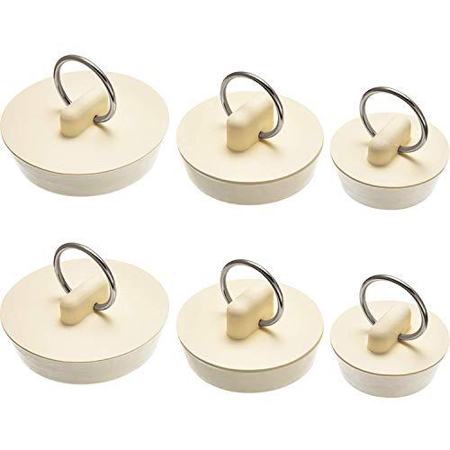 JTShop 6 Stück Gummi-Waschbeckenstopfen Set Abflussstopfen Stopfen Stopfen mit Hängering für Badewanne, Küche und Bad, 3 Größen