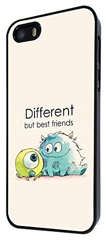 177-Cool Fun Monsters Different But Best Friends Coque iPhone 44S Design Fashion Trend Case Back Cover Métal et Plastique-Noir
