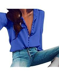 df47e8d9e53989 WHSHINE Frauen Casual Lange Hülsen Blusen Revers Langarmeliges Hemd Mode  Damen Lose beiläufige Feste Herbst Bluse