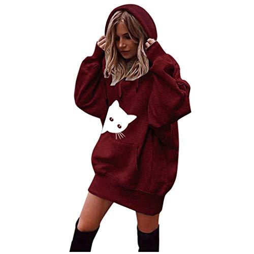 MRULIC Damen Loose Langer Jumper Sweatshirt Hoodie Pullover Sweater Blouse Oberteil Oversize Tops Female Mantel(X-Rot,EU-38/CN-S)
