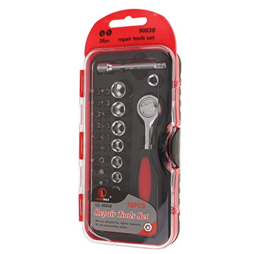 FLAMEER Werkzeugkoffer 38-TLG. Steckschlüssel Satz Nußkasten Ratschen Set Steckschlüssel Satz