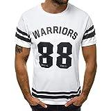 REALIKE Herren Kurzarmshirt Tops Casual Basic O-Ausschnitt Buchstabenmuster T-Shirt Mode Loose Fit Oberteil Summer Sport Bequem Atmungsaktiv Leicht Viele Farben Blusen