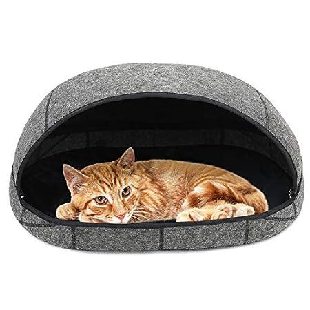 Barbieya Premium Katzenbett-Höhle (groß), umweltfreundliche Betten aus 100% Merinowolle für Katzen, handgefertigtes Katzenbett, Faltbare Höhle für Katzen und Kätzchen