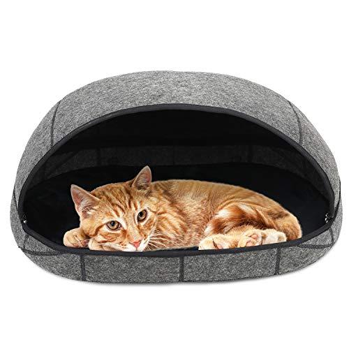 Barbieya Premium Katzenbett-Höhle (groß), umweltfreundliche Betten aus 100% Merinowolle für Katzen, handgefertigtes Katzenbett, Faltbare Höhle für Katzen und Kätzchen -