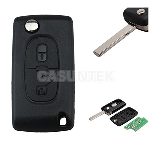 ELECTROPRIME® Remote Key Fob Case 433MHZ with Chip Uncut Blade for Peugeot Citroen