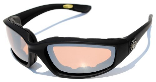 Choppers Nachtfahrreit Padded Motorradbrille 011 Black Frame mit gelben Linsen 2 Schwarz Mittel Black - Bernstein Objektiv