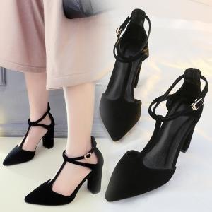 hexiaji 22cm-24.5ccm chaussure femme chausson à haut talon chaussure à perle chaussure à lacet chaussure rose noire Noir