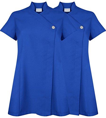 Twin Pack, tunica con chiusura a bottone, uniforme per centro di bellezza, parrucchiere, spa, massaggiatore, centro per le unghie Cobalt