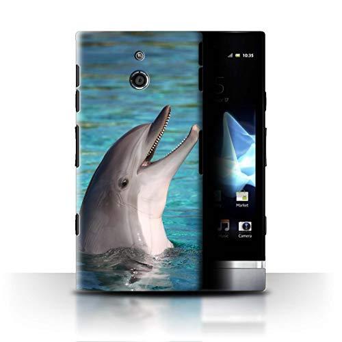 Stuff4® Hülle/Case für Sony Xperia P/LT22i / Nettes Lachen Muster/Delfine Meereslebens Kollektion