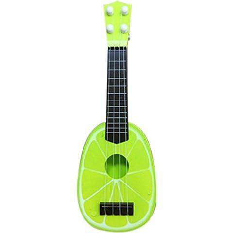 FEITONG Juguetes Los niños aprenden Guitarra Ukulele Mini fruta puede tocar instrumentos musicales Juguetes (amarillo)