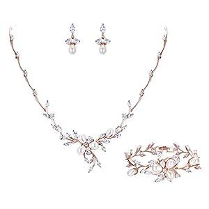 Ever Faith Zirkon Simulierte Perle Blume Blatt Filigrane Halskette Ohrringe Armband Set Klar