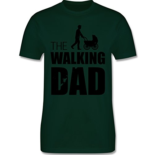 Shirtracer Vatertag - The Walking Dad - Herren T-Shirt Rundhals Dunkelgrün