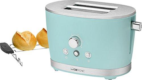 Clatronic TA 3690 - Tostadora de pan Rock&Retro, 2 ranuras, 3 funciones (tostar, calentar y descongelar), 850 W, color Verde Menta