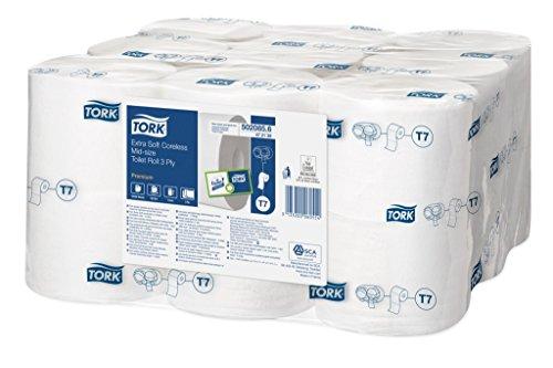 Tork 472139 extra weiches hülsenloses Midi Toilettenpapier in Premium Qualität für Tork T7 Doppelrollenspender/WC-Papier 3 lagig/hülsenlos / extra weich und reißfest, 18 x 550 Blatt
