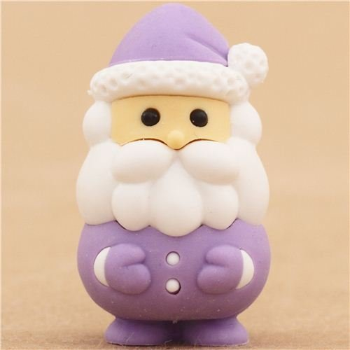 lila Weihnachtsmann Weihnachten Radiergummi von Iwako aus Japan