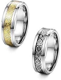 sailimue Schmuck 8MM Edelstahl Drachen Muster Inlay Keltisch Ringe für Männer Jungen Ring Engagement Ehering Band Größe 54-70