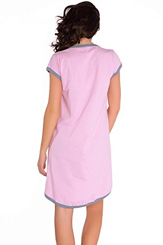 Dn-Nightwear TM.5038 Camisón Maternal , XL, Rosa - Gris