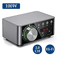 Loijon HIFI BT5.0 Digital Amplifier Mini Stereo Audio Amp 100W Dual Channel Sound Power Audio Receiver Stereo AMP USB AUX for Home Theater USB TF Card Player Sliver