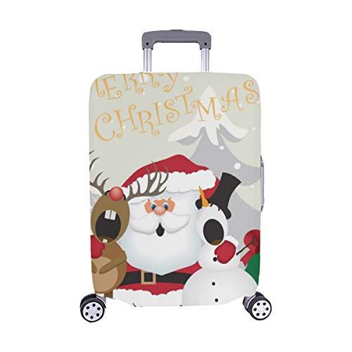 (Santa Claus schneemann Rentiere singt Weihnachten Muster Spandex Trolley Fall reisegepäck auf 28,5 x 20,5 cm beschützer Koffer)