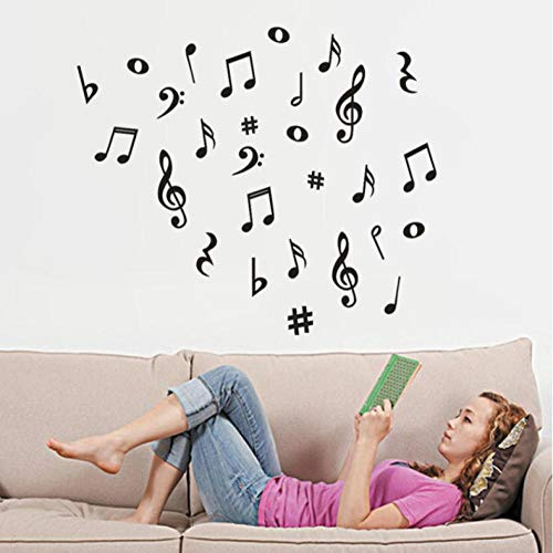 Lyiting 1 Stück Wandaufkleber Diy Musik Musiknoten Abnehmbare Wandaufkleber Klassenzimmer Kindergarten Schule Klavier Dekoration (60X70 Cm)