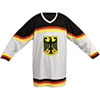 SportTeam Camiseta de la Selección Alemana de hockey sobre hielo, unisex, Eishockey Shirt DE, Multicolor  (blanco / negro), extra-large