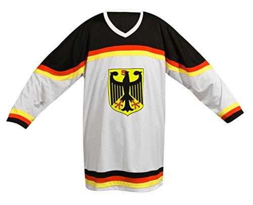 Camiseta de la Selección Alemana de Hockey Sobre Hielo, Unisex, Eishockey Shirt DE, Blanco/Negro, Extra-Large
