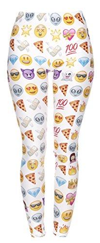 Femmes Mesdames Leggings Longueur complet extensible Collants Pantalon pour ne pas voir à travers Fitness Yoga Running Hipster UK 81012 Multicolore - EMOJI WHITE