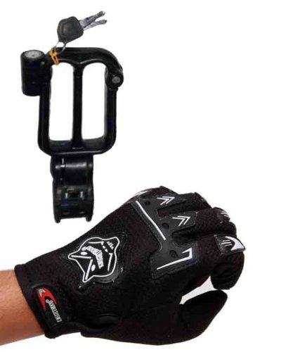 Delhi Traderss Combo of Helmet Lock and Knighthood Gloves (Black)