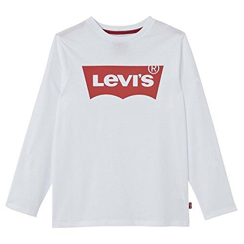 Levi's n91005h-t-shirt a maniche lunghe bambino, bianco, 8 anni