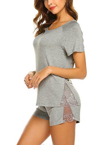Unibelle pigiama due pezzi pigiami estivi donna collo a u vestaglia ragazza maniche corte con pantalocini navy blu m