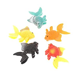 mi ji 5pcs Lifelike Plastique Artificielle Mouvement Flottant Poissons Ornement Décorations pour Aquarium de Poissons (Couleur aléatoire)