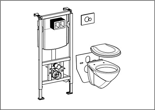 WC-Vorwandelement komplett mit WC, WC-Sitz, Betätigungstaste und Schallschutz-Set
