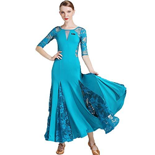 CPDZ Graceful Feminine Rock Pfau Blau Erwachsene Moderne Maxi Kleid Ballkleid für Frauen Lob Tanz Durchsichtige Mesh Spitze Blumendruck V-Ausschnitt Maxi Kleid Kleid Nacht (Pfau Für Erwachsene Plus Kostüm)