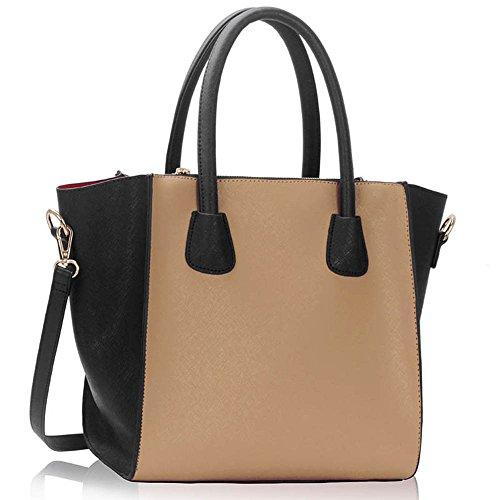 TrendStar Damen Designer Handtaschen Damen Schultertasche Neue Kunstleder Berühmtenart Mode Tote Große (Schwarz/Nude) (Inspiriert Neue Designer Schwarze Handtasche)