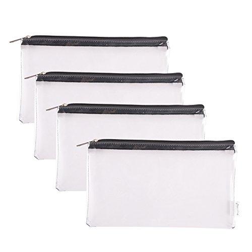 augbunny Reißverschluss Klar Vinyl Sicherheit Utility Münzgeldfach Bag Check Wallet Geld Organizer Tasche von der Bank 4er Pack Small farblos