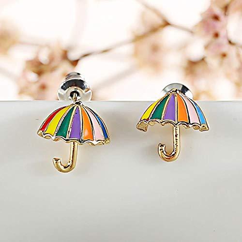 LOJBFD Silber Nadel Farbe Regenschirm ohne Ohr durchbohrt Ohrclip Mädchen Modeschmuck