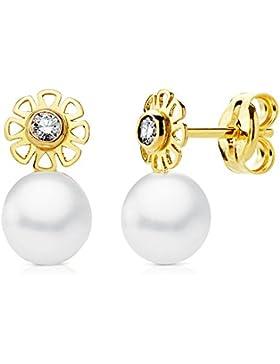 Baby Mädchen Ohrringe Blume Kälteeinwirkung 10x 5mm gelb 18K Gold Perlen Verschluss Druck