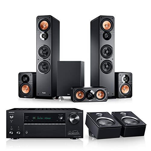 Teufel Ultima 40 Surround AVR für Dolby Atmos 5.1.2-Set Schwarz / Schwarz Heimkino Lautsprecher 5.1 Soundanlage Kino Raumklang Surround Subwoofer